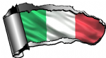Ripped Open Gash Torn Metal Design With Italy Italian il Tricolore National Flag Motif External Vinyl Car Sticker 140x75mm